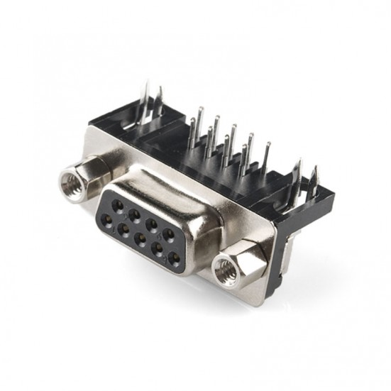 DB9 Female 9-Pin Right Angle PCB Mount Connector
