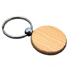 Laser Engravable Circular Wooden Key Chain