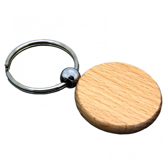 Laser Engravable Circular Wooden Key Chain (4)