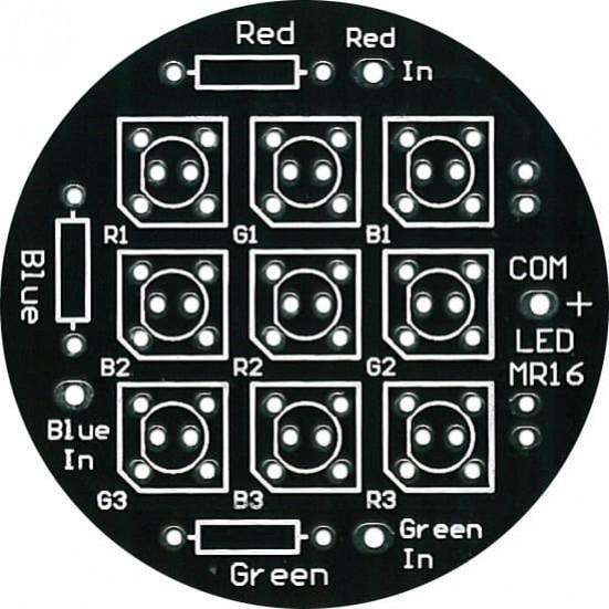 LED MR16: 9-LED MR16 Display PC Board