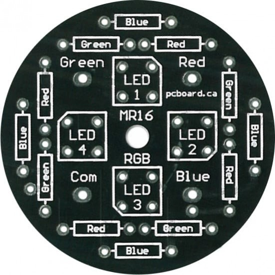 LED MR16RGB: 4-LED RGB MR16 Display PC Board