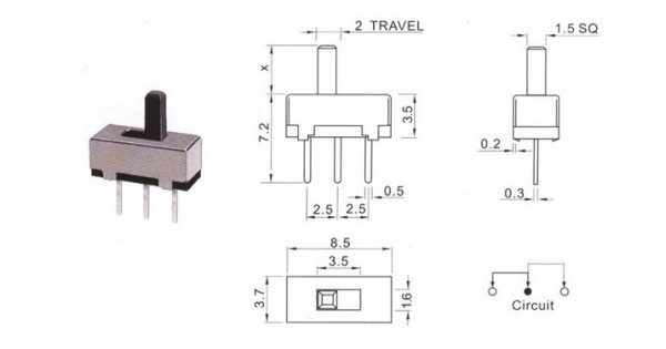 mini spst 2 position slide switch pcb mount
