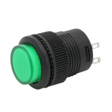16mm Pushbutton with Green LED Backlight - N/O Contacts