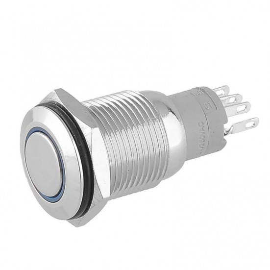 Metal Pushbutton - Latching with Blue LED (16mm)
