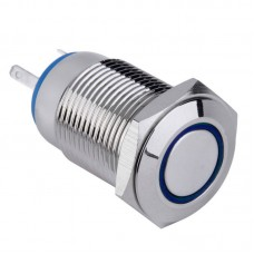 Metal Pushbutton - Latching with Blue LED (16mm) - High Current