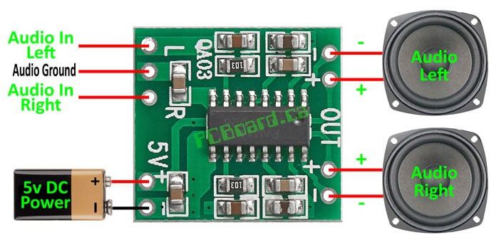 PAM8403 Stereo 3W Digital Amplifier Connection Details