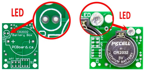 CR2032 Battery Holder Board LED Mounting Option