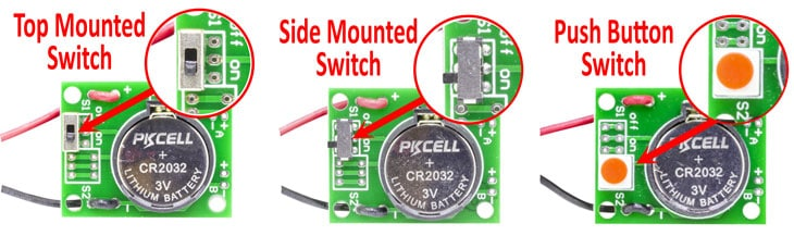 CR2032 Battery Holder Board with Switch Options Example