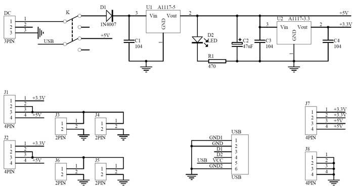 Breadboard Power Supply with 3.3v and 5v Outputs