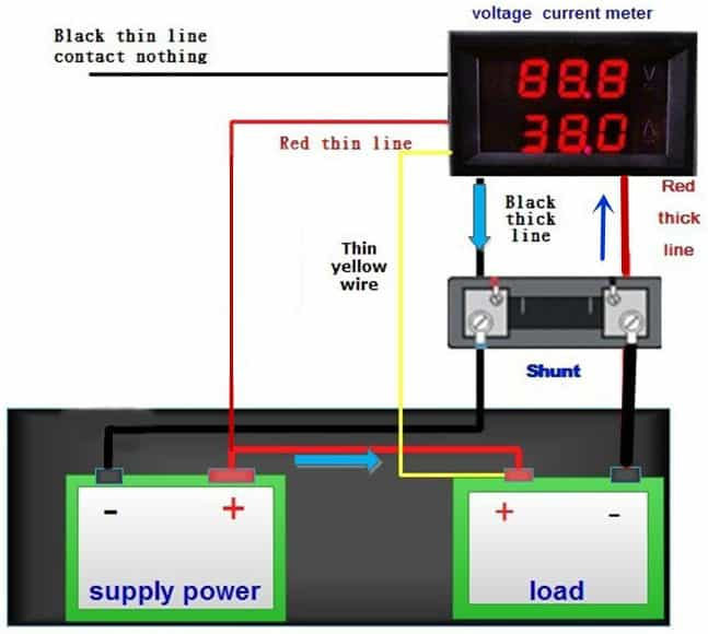 Digital Panel Meter - Voltage and Current - Connection Details