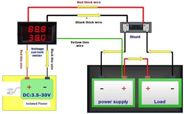 Digital Panel Meter - Voltage and Current - Connection Details from Isolated Power Supply