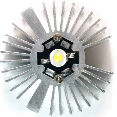 1, 3 or 5 watt LED Mounted to Heatsink