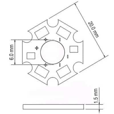 Dimension of Aluminum LED Bead Base