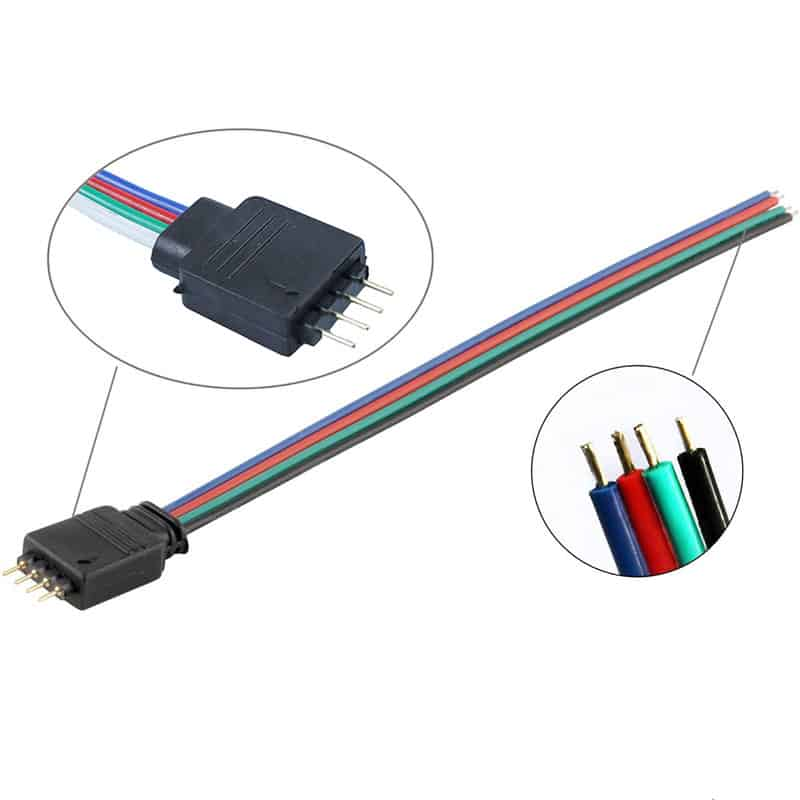 Male 4-Pin Connector Cable for RGB 5050 & 3528 LED Strips