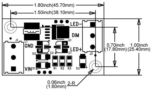 5W High Power LED Driver - Dimensions