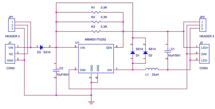 5W High Power LED Driver - Schematic