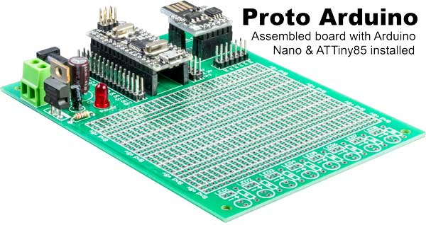 Proto Arduino prototype board fully poplulated with Arduino Nano and ATTiny85