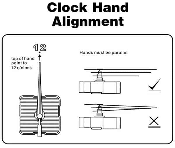 Black Hands - Quartz Clock Movement Alignment