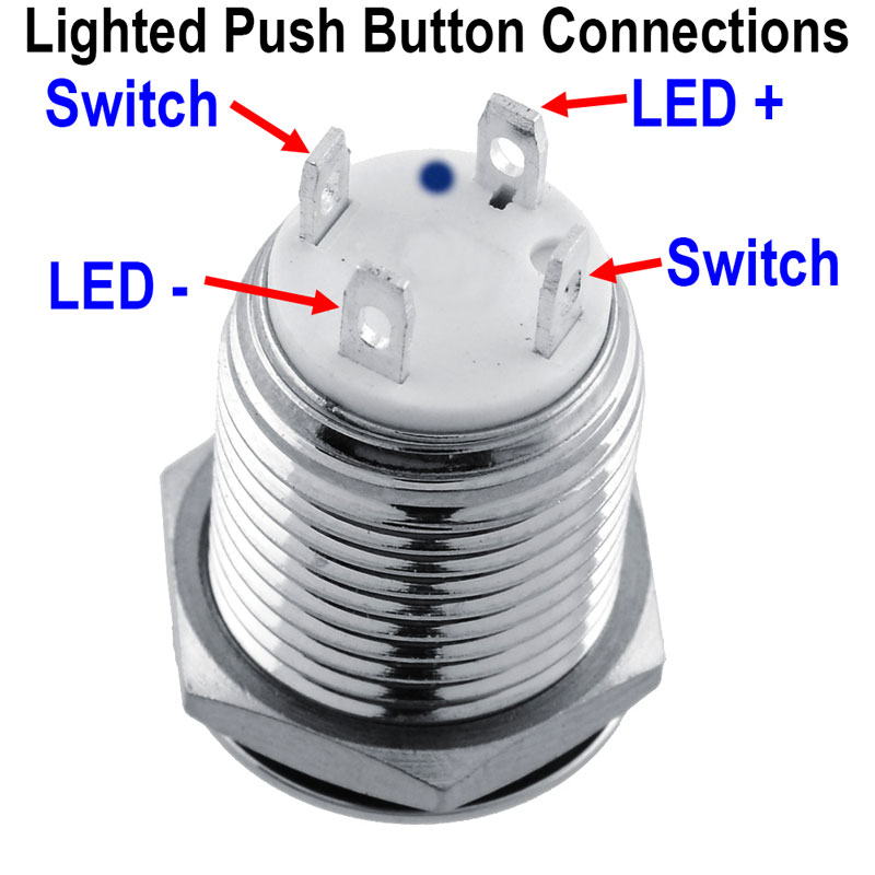 Metal Pushbutton - Momentary with Blue LED (12mm)