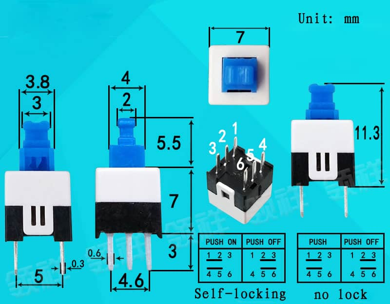 7x7mm self-latching switch overview