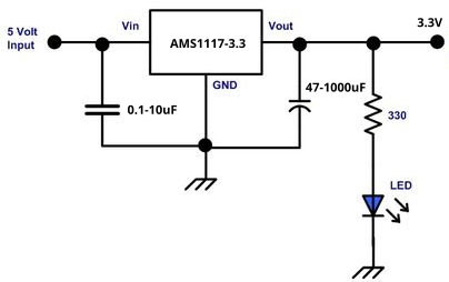 AMS1117 Voltage Regulator 3.3v Circuit Diagram