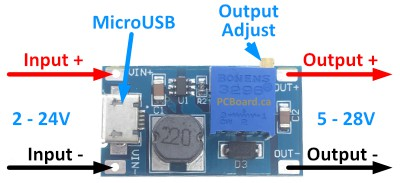 MT3608 DC-DC Boost Converter with MicroUSB