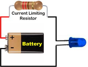 Single LED Dropping Resistor Circuit